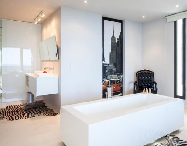 Bathroom Bath Wall To Wall Window Chic White Stunning Ibiza Villa
