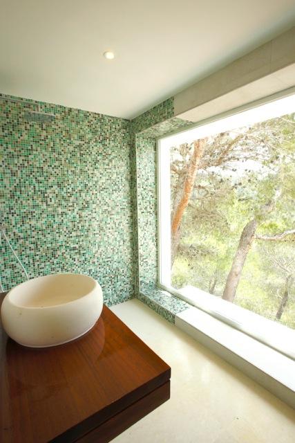 Beautiful Bathroom Green Tiles Forest Window Ibiza Villa