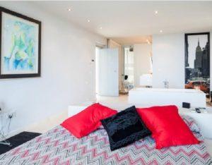 Bedroom Wall To Wall Window Chic White Stunning Ibiza Villa