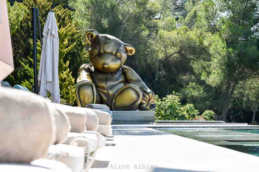 Big Bronze Bear Swimming Pool Ibiza Villa