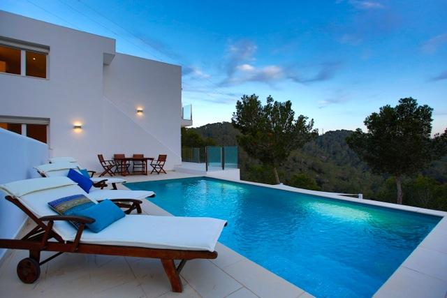 Blue Swimming Pool Sun Lounger Poolside Ibiza Villa