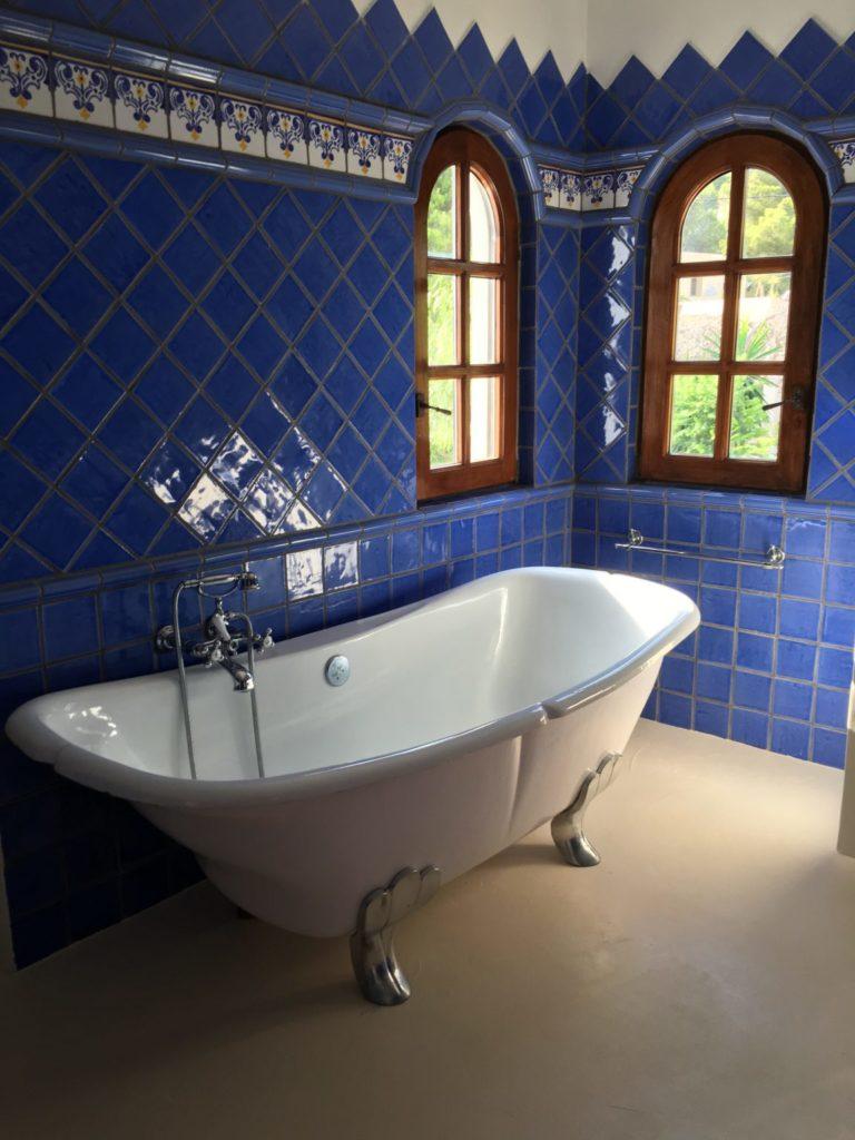 Blue Victorian Tiles Bathroom Ibiza Villa Bath