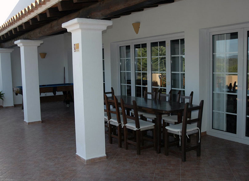 Column Ibiza Villa Exterior Window Dining Area