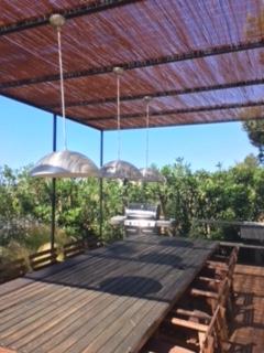 Dinner Outside Green Garden Cala Jondal Ibiza Villa Terrace