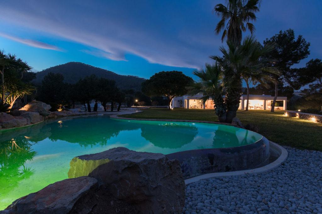 Evening Exterior Pool Villa Ibiza Gorgeous Luxury