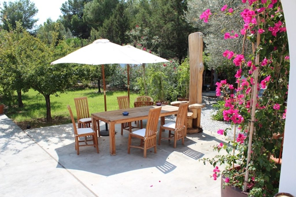 Exterior Living Area Shade Dining Tables Flowers Ibiza Villa