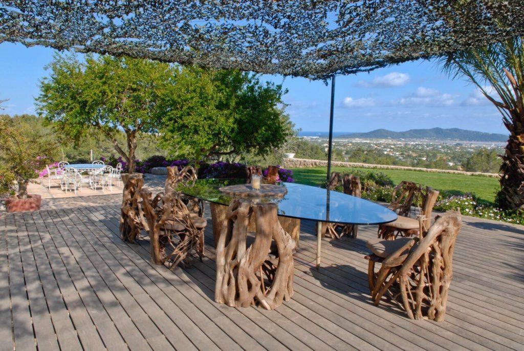 Exterior Netting Table Wooden Glass Modern Chic Decking0ibiza Villa