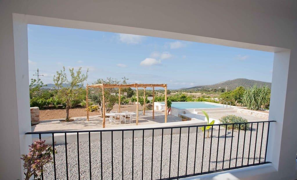 Finca Beautiful Exterior Ibiza Big Wooden Beams Living Area Rustic Balcony