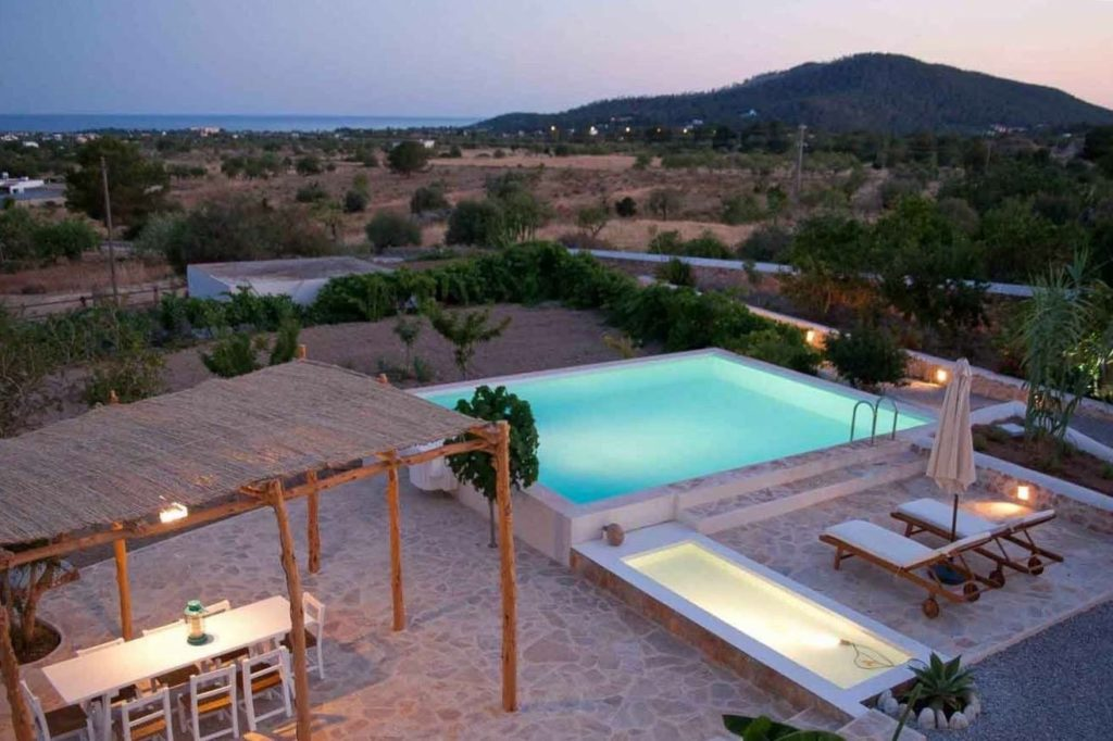 Finca Beautiful Exterior Ibiza Big Wooden Beams Living Area Rustic Pool