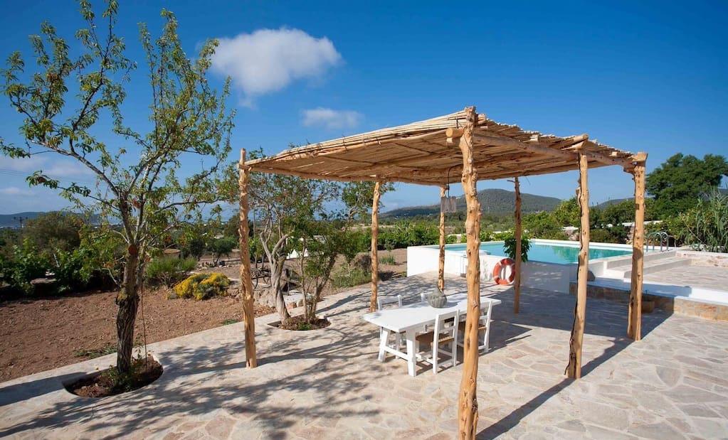 Finca Beautiful Exterior Ibiza Big Wooden Beams Living Area Rustic