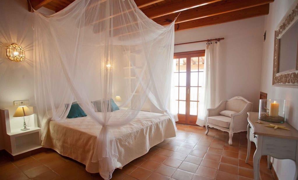 Finca Big Bedroom Wooden Beams Ibiza