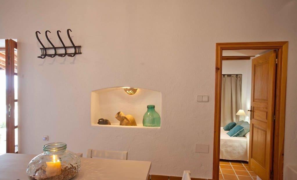 Finca Big Wooden Beams Interior Area Ibiza Entrance