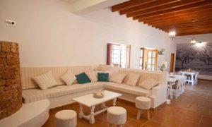 Finca Big Wooden Beams Living Area Ibiza