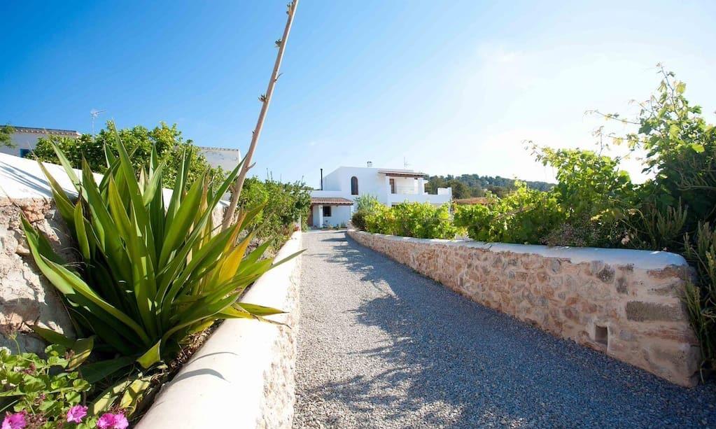 Finca Big Wooden Beams Outdoor Area Ibiza Entrance