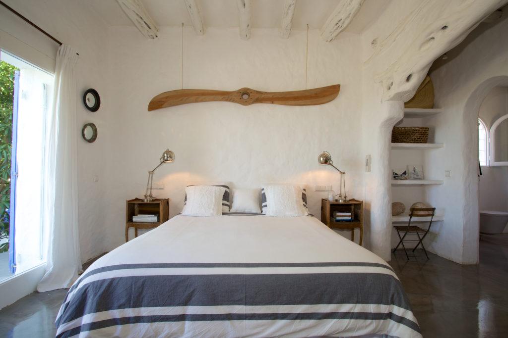 Finca Comfort White Walls Interior Stylish Bed Ibiza