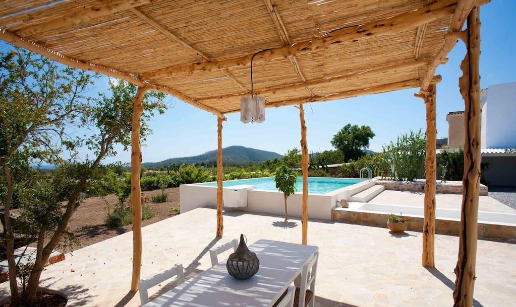 Finca Ibiza Big Wooden Beams Living Area Rustic Beautiful Exterior