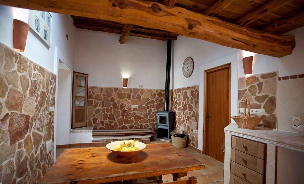 Finca Ibiza Big Wooden Beams Living Area