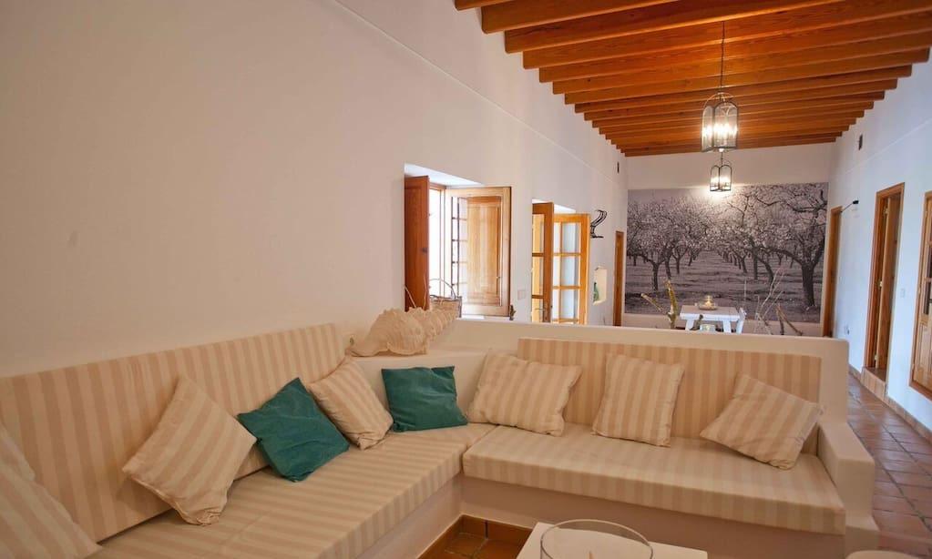 Finca Living Area Rustic Beautiful Exterior Ibiza Big Wooden Beams
