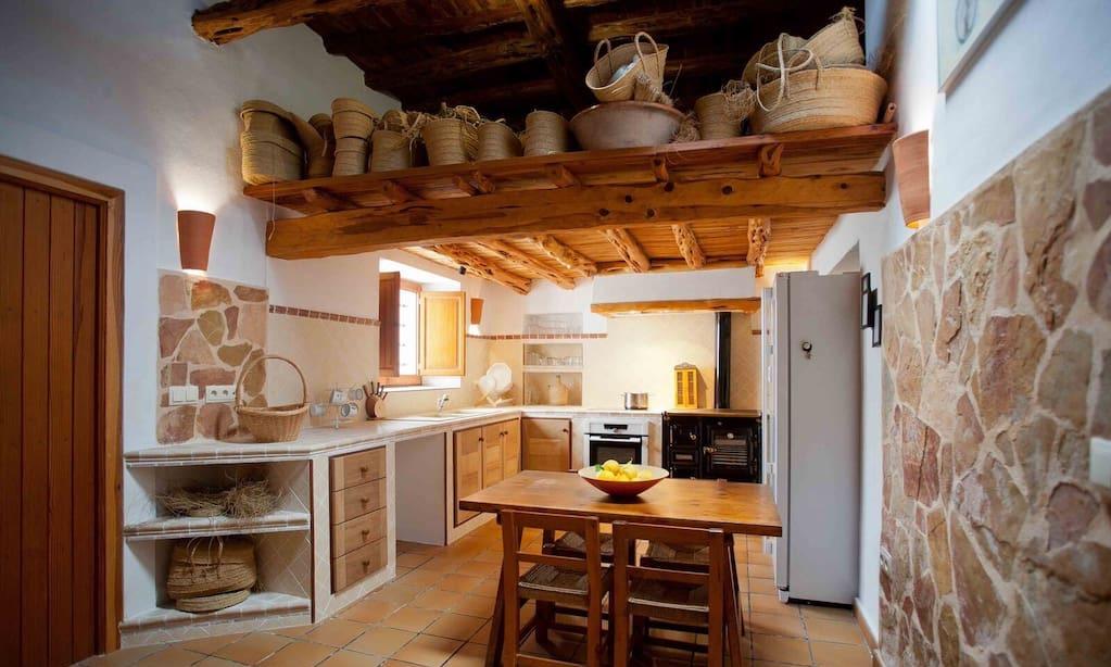 Finca Living Area Rustic Beautiful Kitchen Ibiza Big Wooden Beams