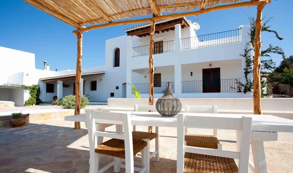 Finca Living Area Rustic Beautiful Outdoor Ibiza Big Wooden Beams