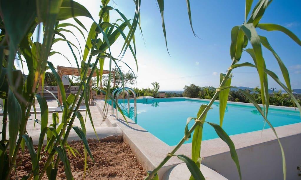 Finca Rustic Pool Beautiful Exterior Ibiza Big Wooden Beams Living Area