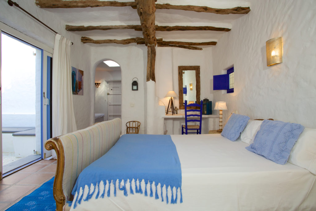 Finca Wooden Beams Blue Bed Special Traditional Ibiza White Quirky