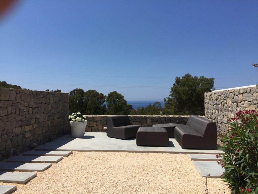 Gorgeous Stone Wall Ibiza Villa Exterior Seating Area Luxury