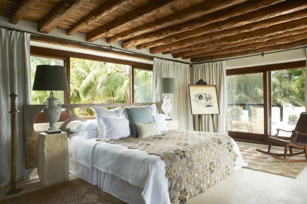 Holiday Villas Ibiza Master Bedroom Wooden Beam