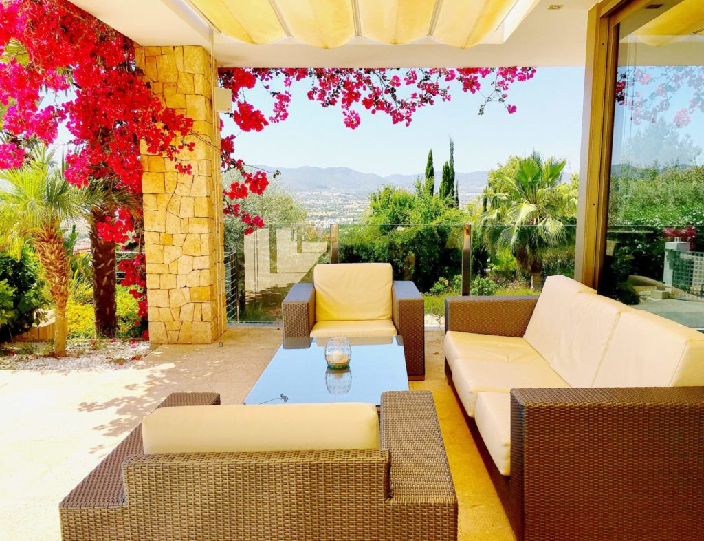 Ibiza Private Villas Villa Esteban Terrace Flowers