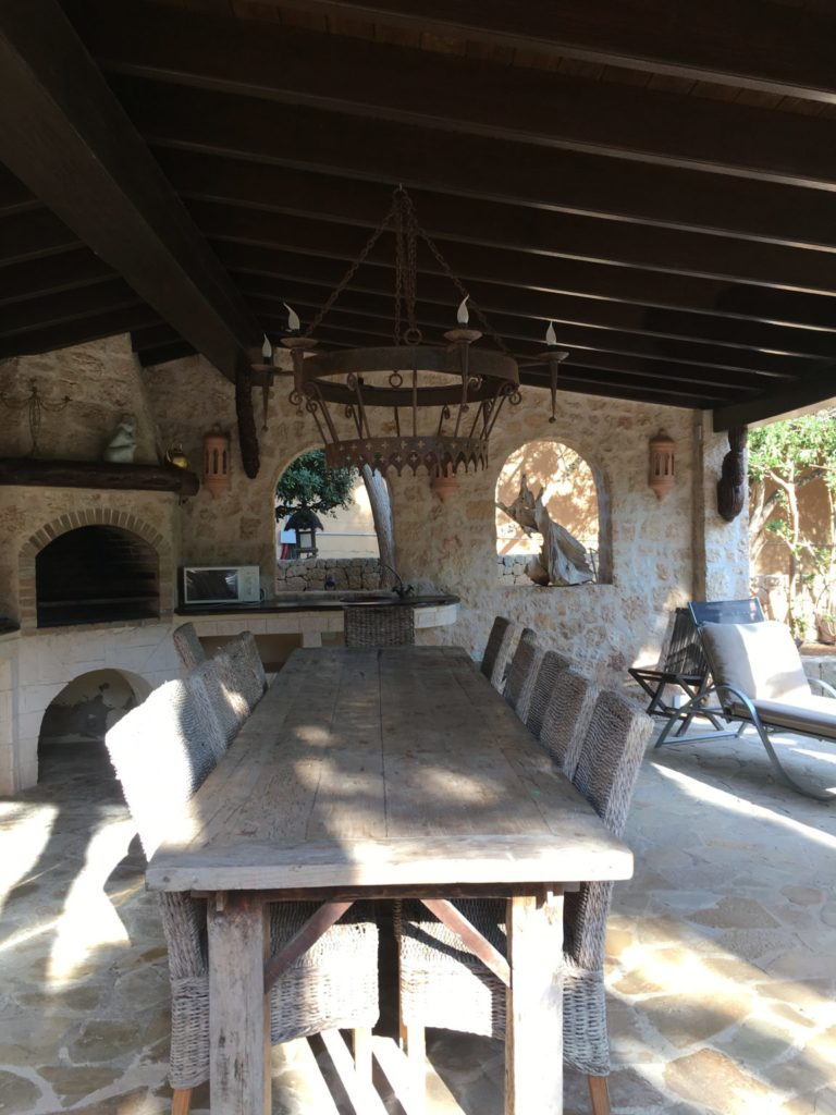 Ibiza Villa Dining Area Outside Wooden Roof