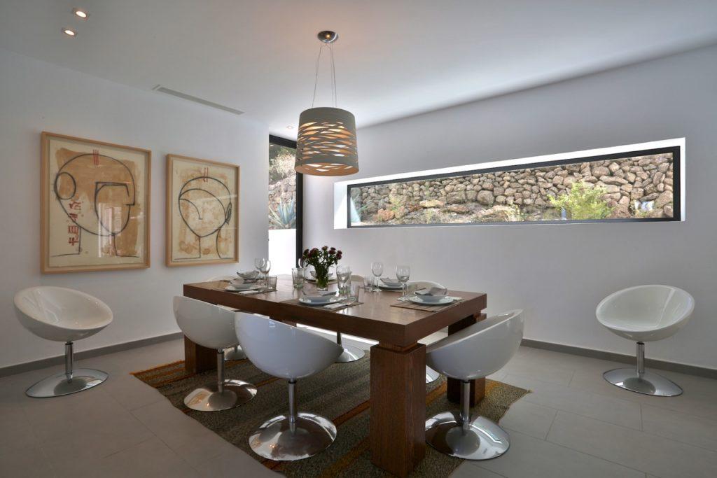 Ibiza Villa Pool Beautiful Modern Interior Dining Room White