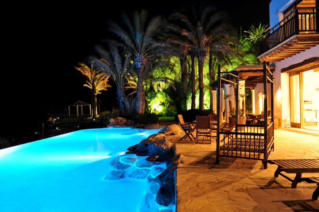 Ibiza Villa Rentals Luxury Blue Bay By Night Poolside