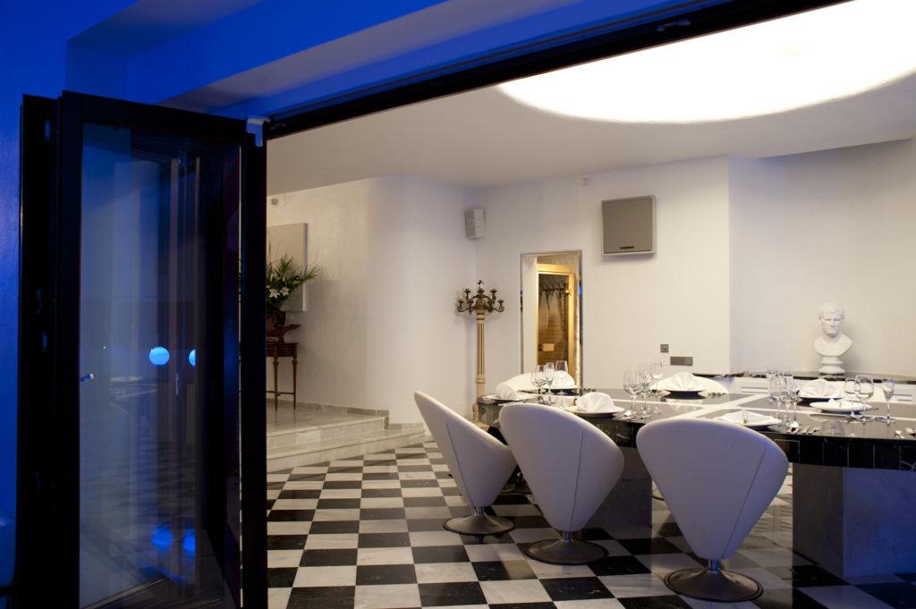 Ibiza Villa Rica Dining Evening Inside