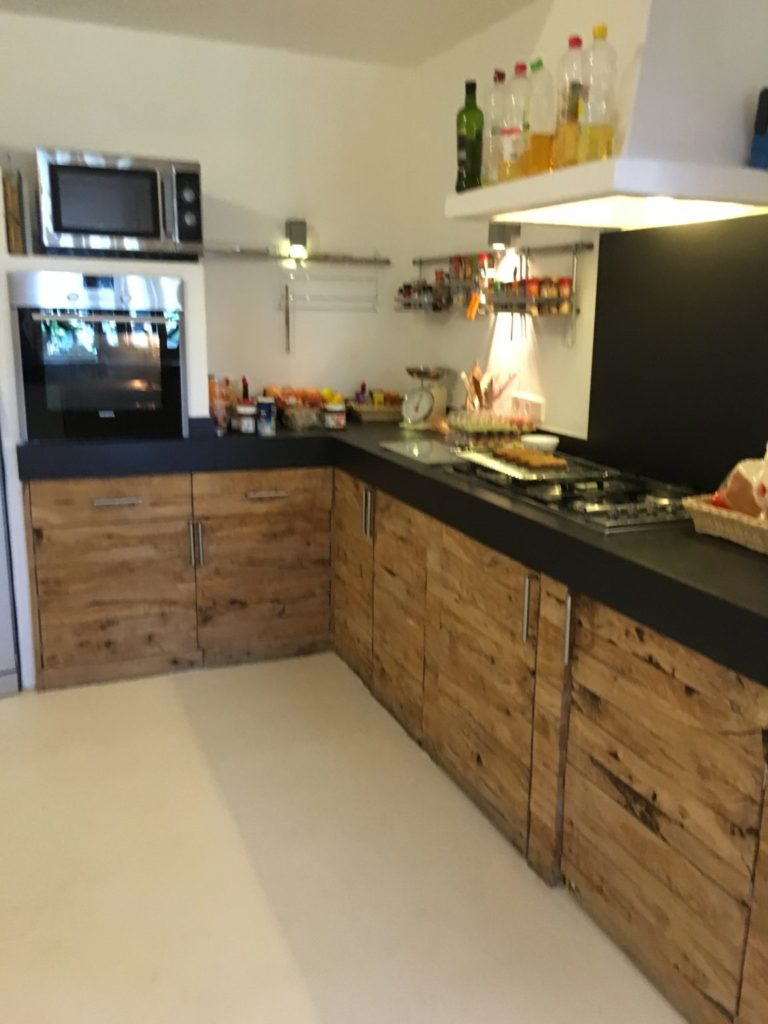 Kitchen Black Work Surface Wooden Cupboards Ibiza Villa Modern