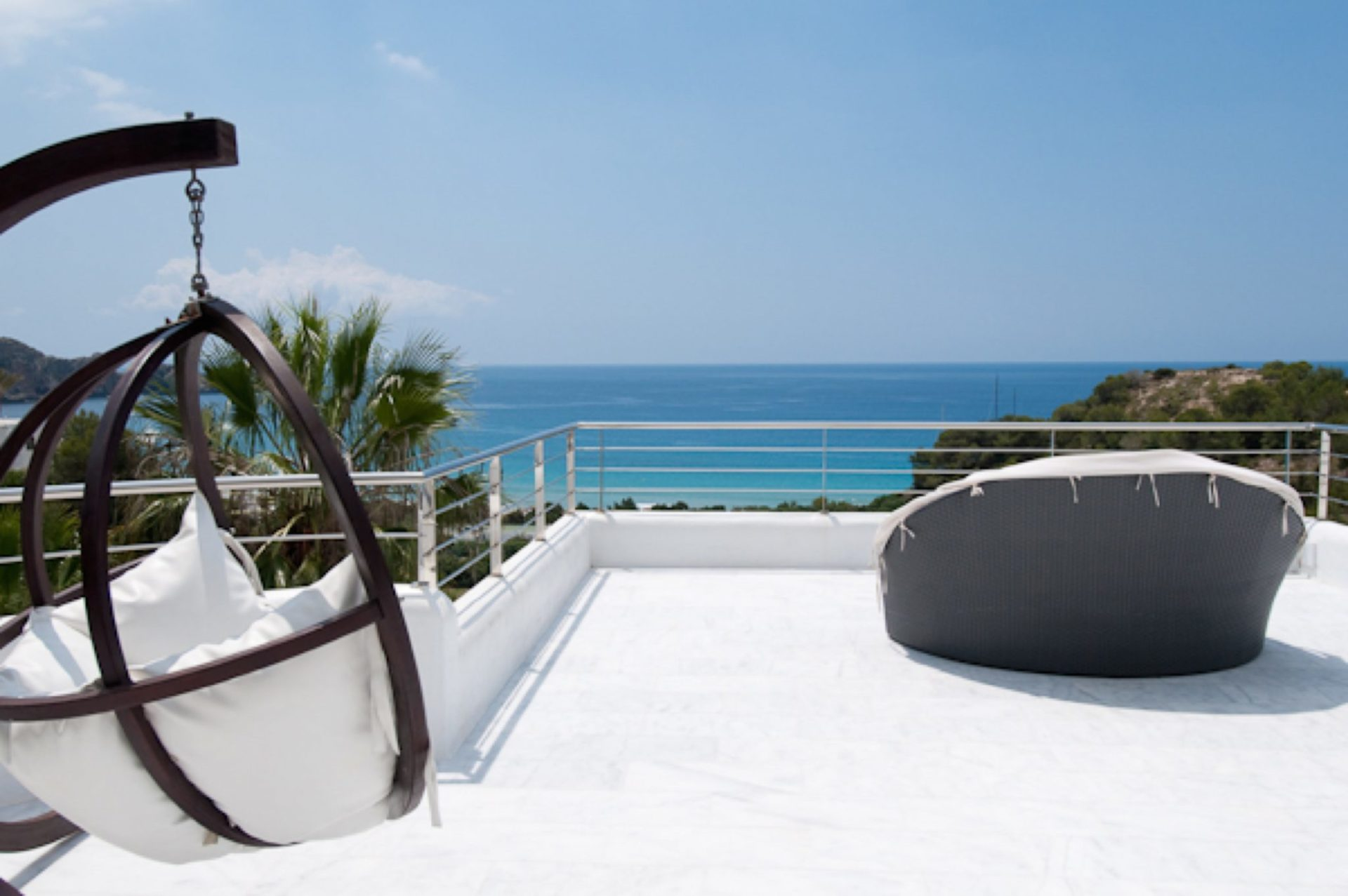 Luxury Villa Hanging Chair On Roof Terrace