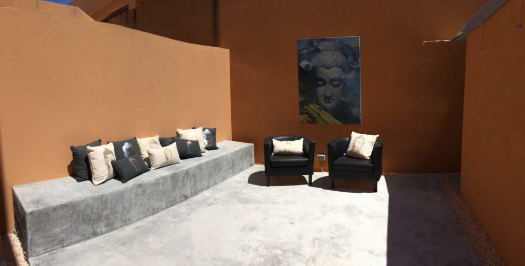 Orange Wall Ibiza Villa Sitting Area