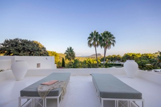 Outdoor Lounge Area Porroig Location Villa Ibiza