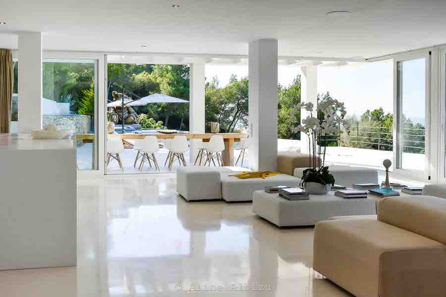 Outdoor Seating Area Dining Area Pool White New Villa Ibiza