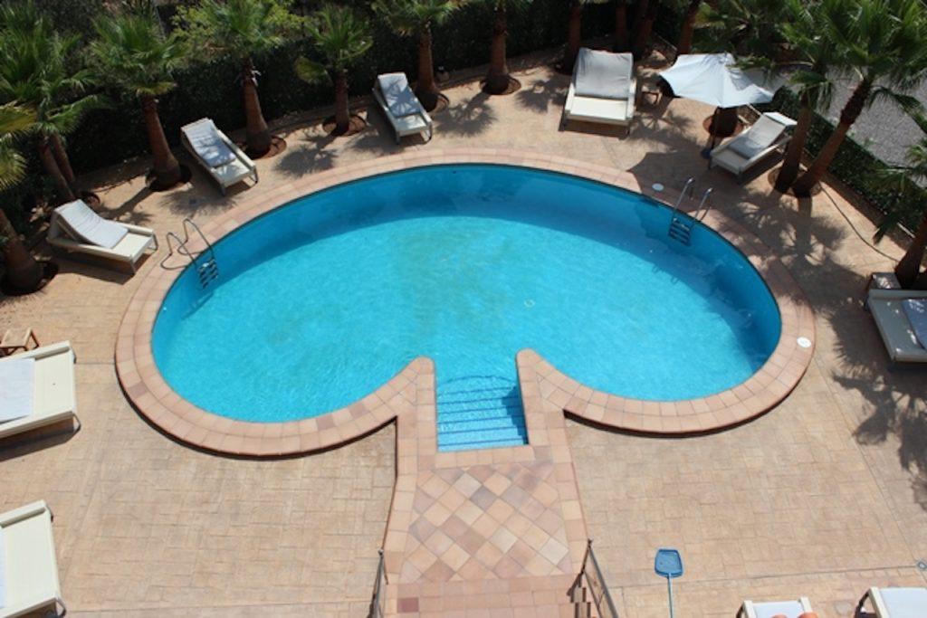 Pool Swimming Club Shape Blue Poolside Luxury Ibiza Villa