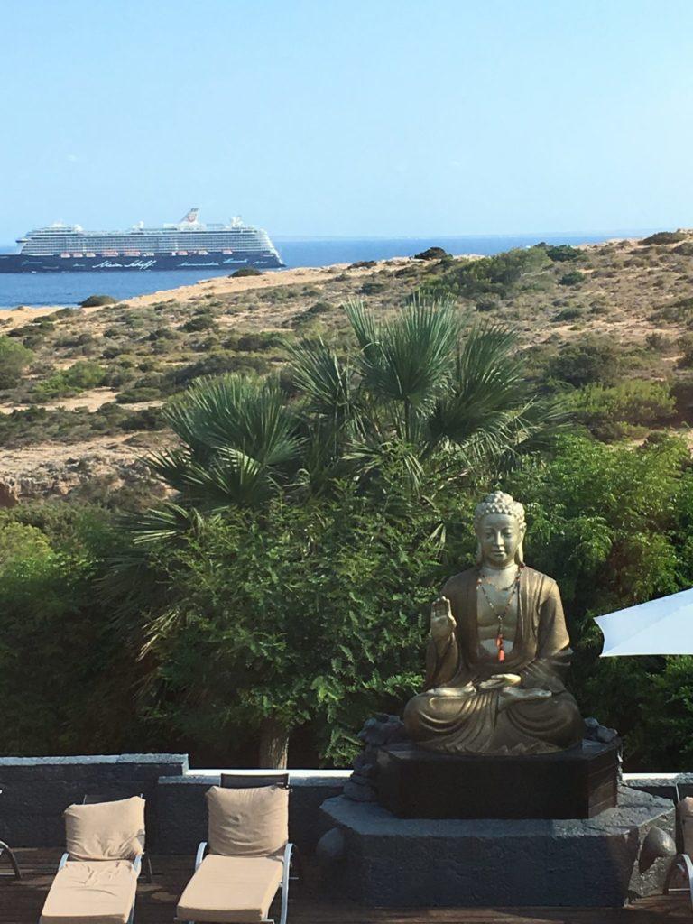 Sea View Ferry Cruise Ship Budda Garden Tree Plant Ibiza Villa