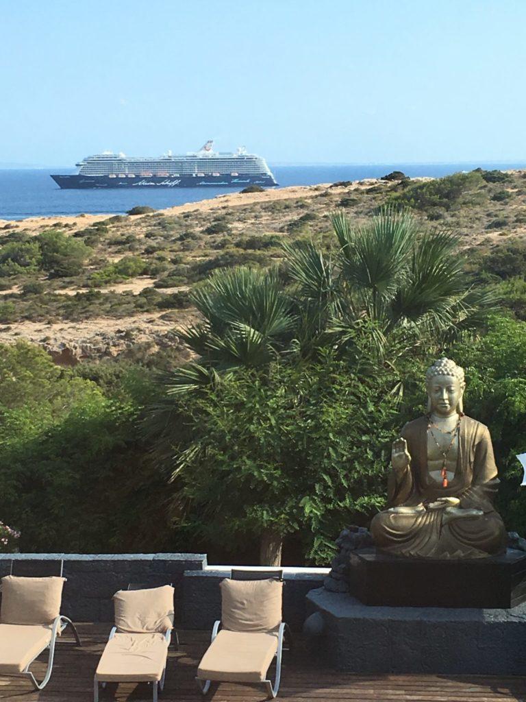 Sea Villa View Ferry Cruise Ship Budda Garden Tree Plant Ibiza