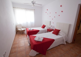 Single Beds Bedroom Red White Ibiza Villa