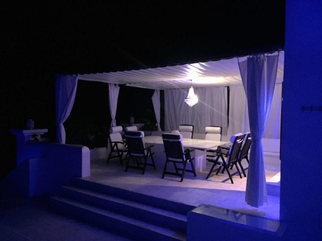 Sophisticated Villa Dining Tent Evening Ibiza
