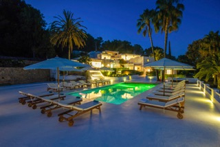 Spanish Villa Ibiza Porroig Poolside Area By Night