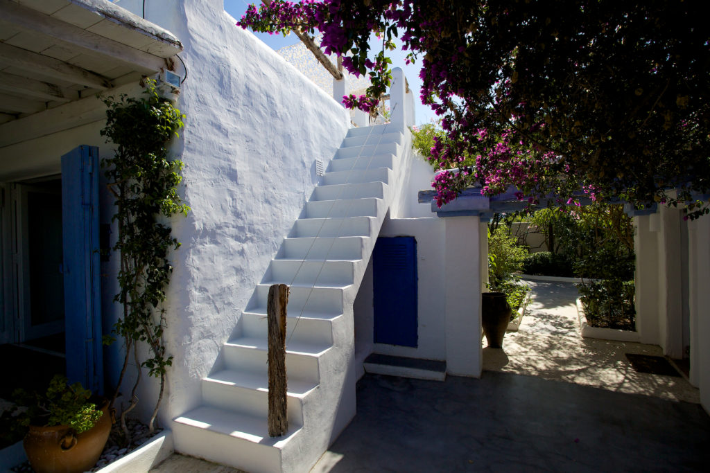 Stairs White Walls Ibiza Villa Flowers