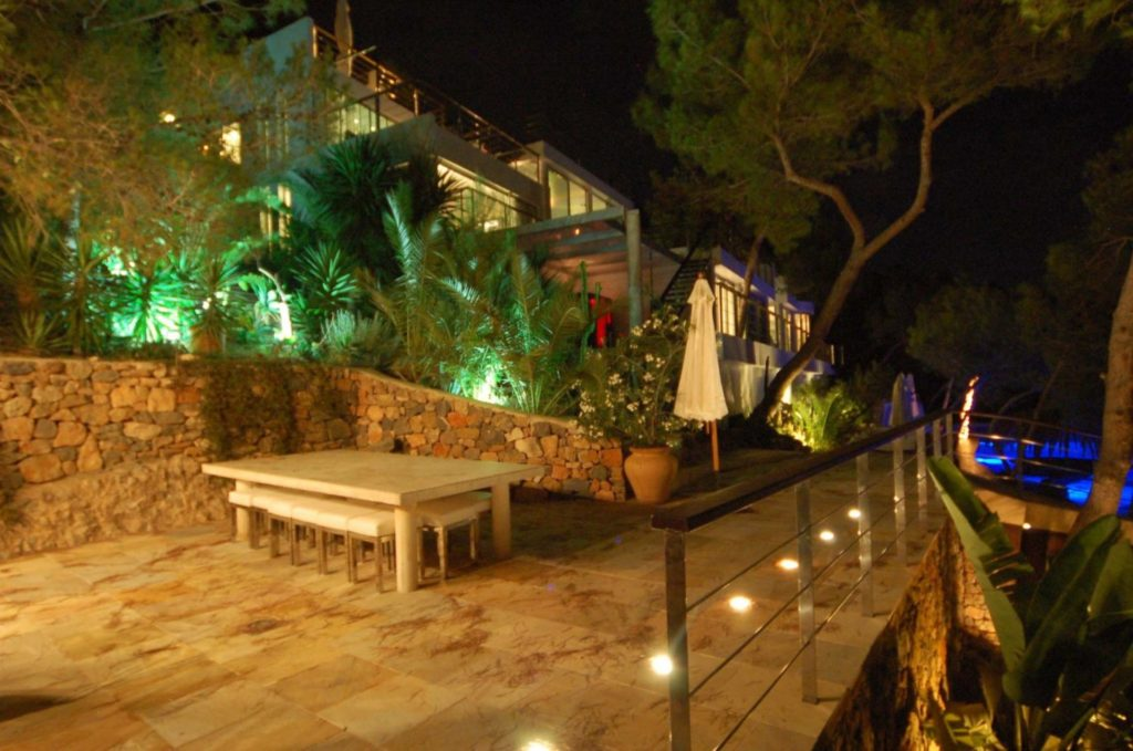 Steam Pool At Night Ibiza Villa Luxury Vip Exclusive Side View From Pool Bar Night