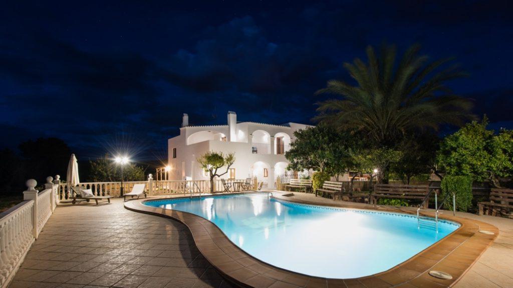 Swimming Pool Arches Ibiza Villa Night Lights Amazing
