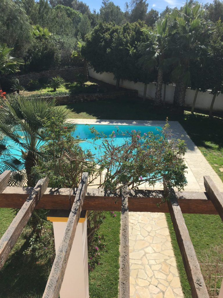 Tall Pool Swimming Trees Outside Exterior Ibiza Poolside Villa