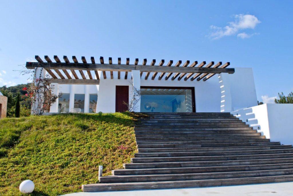 Villa Ibiza Finca Driveway Wooden Beams Stairs