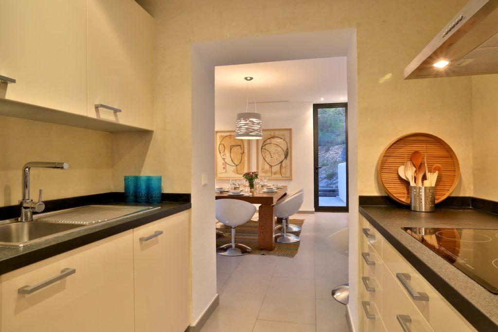 Villa Ibiza Pool Beautiful Modern Interior Kitchen White